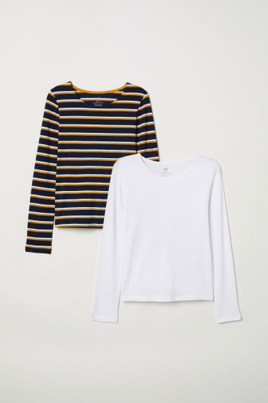 2-pack jersey tops - White/Striped - Kids | H&M CN