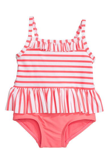 Swimsuit - Pink/White striped - Kids | H&M