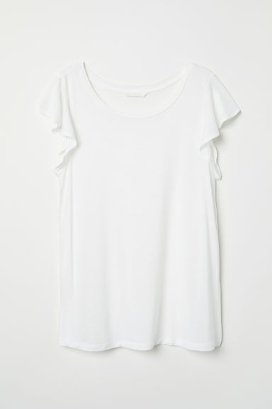 Tricot top met volantmouwen - Wit - DAMES | H&M BE