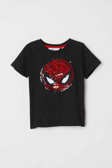 Reversible sequin T-shirt - Black/Spider-Man - Kids | H&M