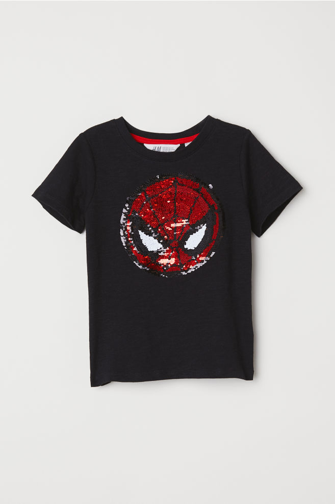 Reversible sequin T-shirt - Black Spider-Man - Kids  af3d1dc7274c