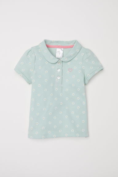 Polo shirt - Light green/Floral - Kids | H&M