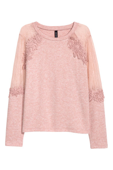 Fine-knit jumper with lace - Powder pink/Marled - Ladies | H&M
