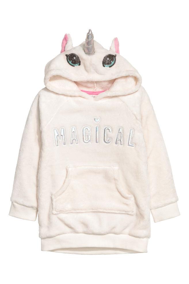 e94a4e052921b Sweat à capuche en polaire - Blanc licorne - ENFANT