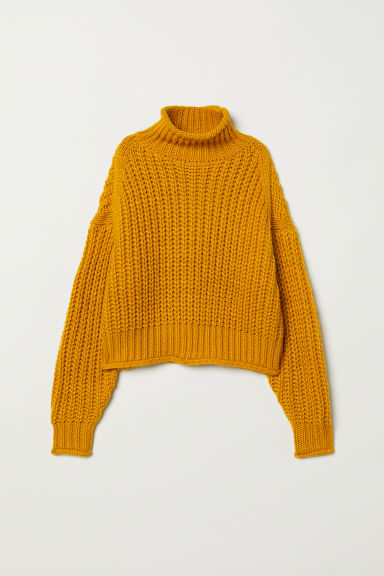 Ribbed polo-neck jumper - Dark yellow - Ladies | H&M