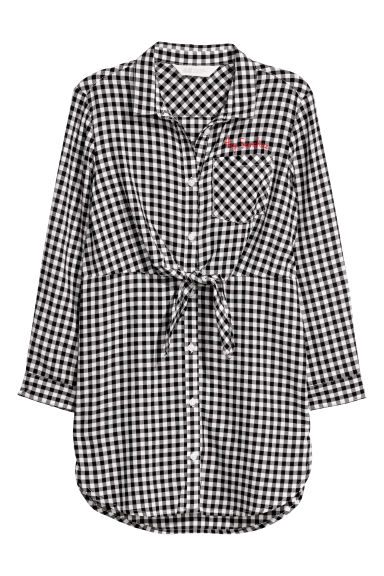 Shirt dress - Black/White checked -  | H&M CN