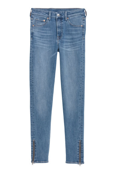 Skinny Regular Zip Jeans - 牛仔蓝 - Ladies | H&M CN