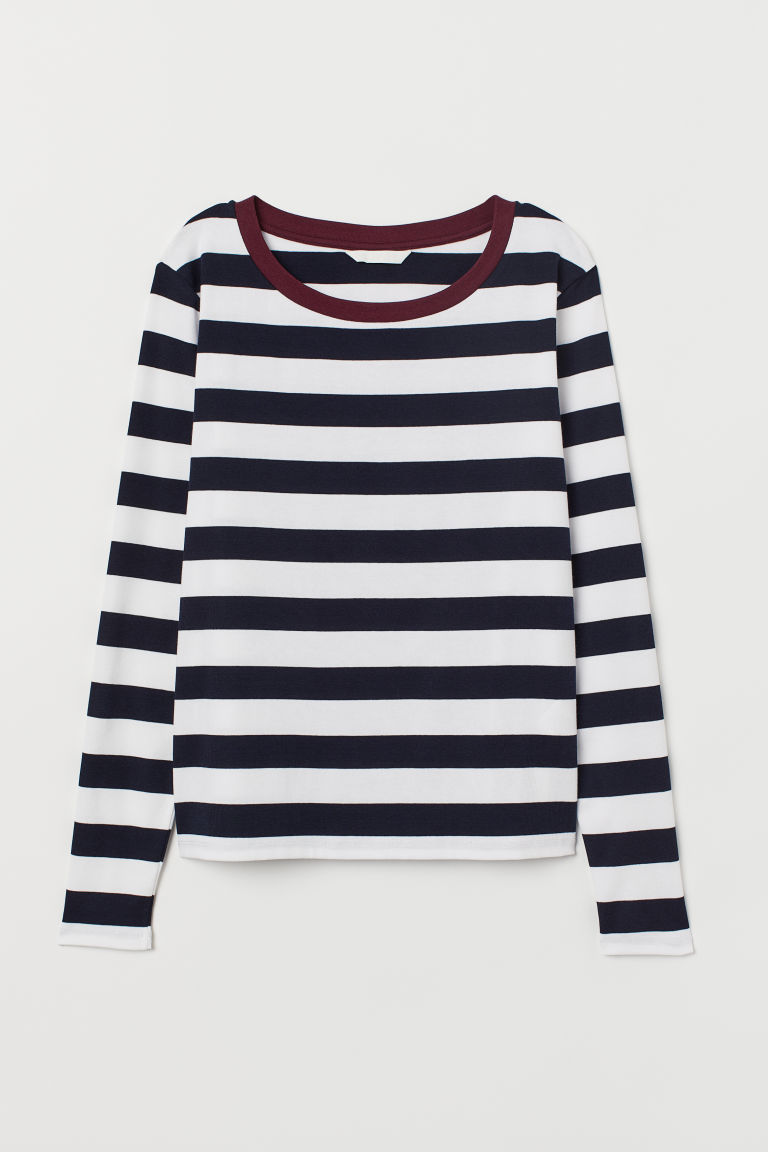 Maglia in jersey a righe - Blu navy/bianco righe - DONNA | H&M IT