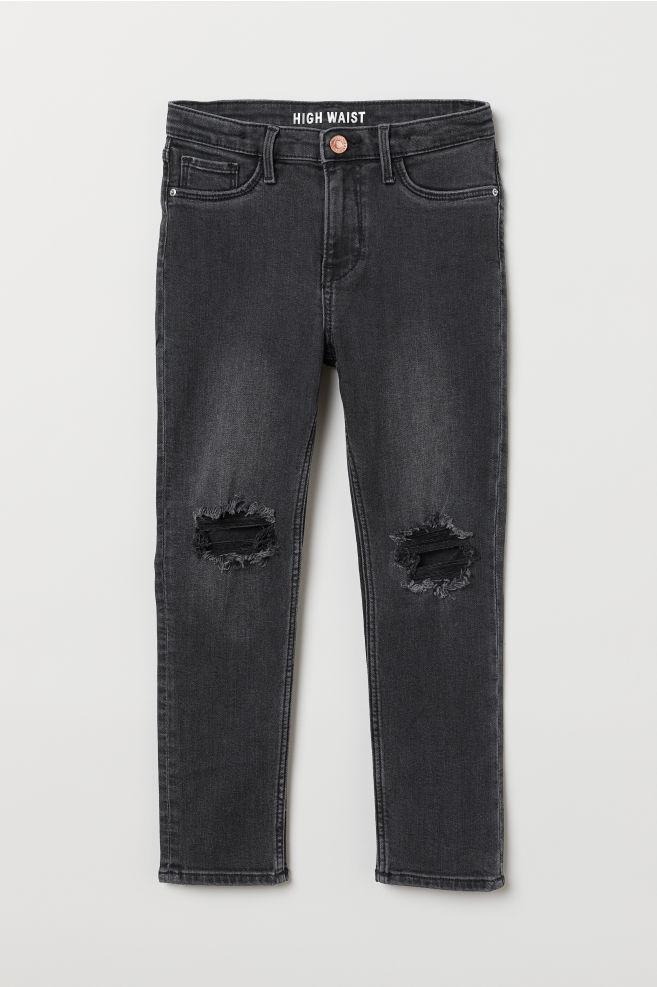 141a14fd Skinny Fit High Trashed Jeans - Black denim - Kids | H&M ...