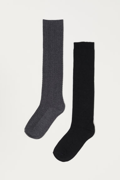 2-pack knee socks - Grey marl/Black - Ladies | H&M
