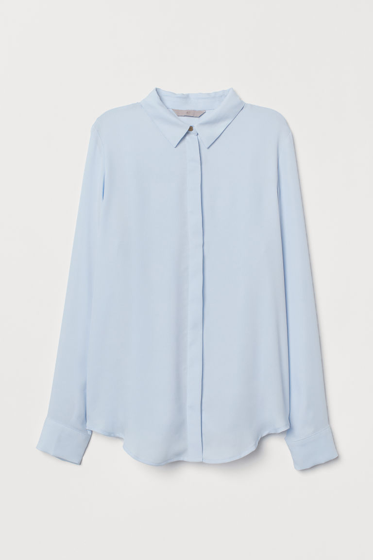 Long-sleeved blouse - Light blue - Ladies | H&M IN