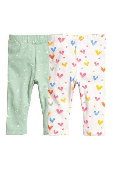 2-pack leggings - Light green/Hearts -  | H&M