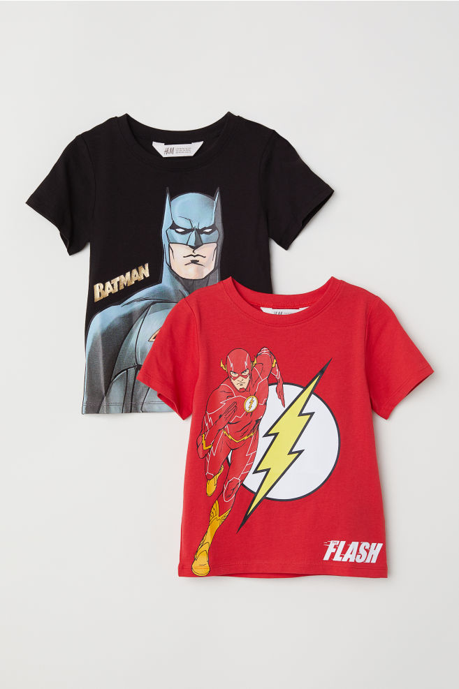 f236b1b67b2 2-pack T-shirts - Black/Justice League - Kids | H&M GB