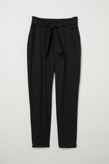 Lyocell paper bag trousers - Black - Ladies | H&M CN