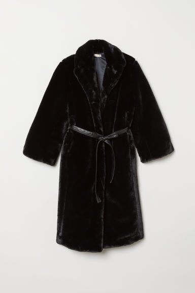 Faux Fur Coat - Black - Ladies | H&M US