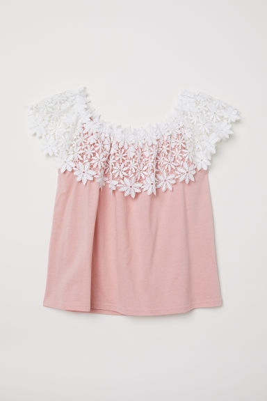Off-the-shoulder top with lace - Vintage pink/White - Ladies | H&M CN