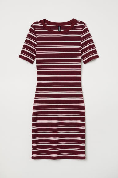 Short-sleeved jersey dress - Burgundy/Striped - Ladies | H&M