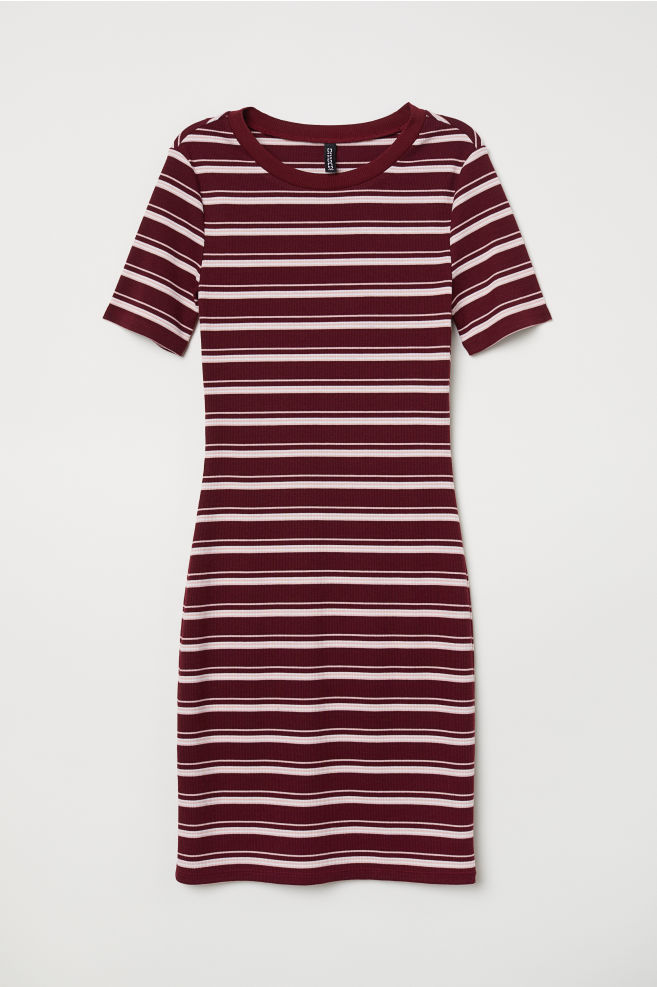 6eb12ab6fda7d Short-sleeved Jersey Dress - Burgundy/striped - | H&M ...