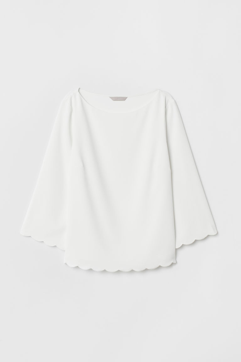 Scallop-trimmed blouse - White -  | H&M CN