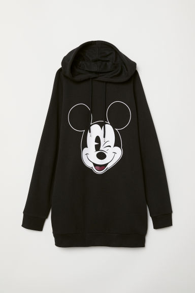 Long hooded top - Black/Mickey Mouse -  | H&M