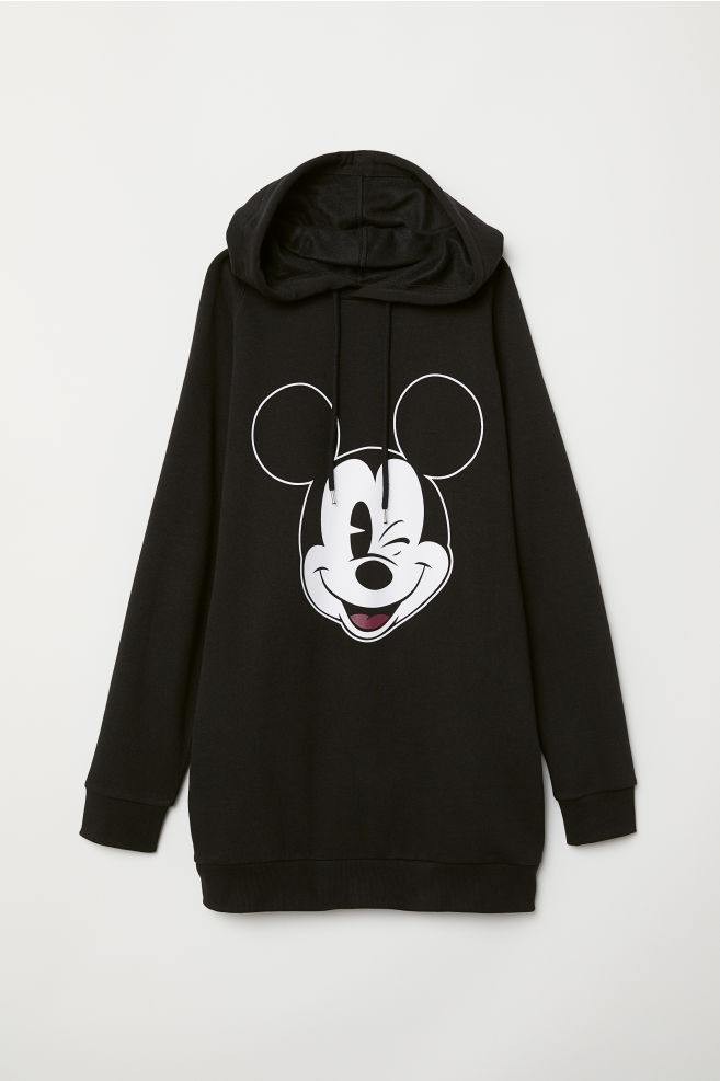 b16cc7a06 Long Hooded Sweatshirt - Black/Mickey Mouse - | H&M ...