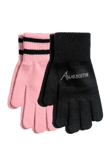 Gants, lot de 2 paires - Noir/rose -  | H&M BE