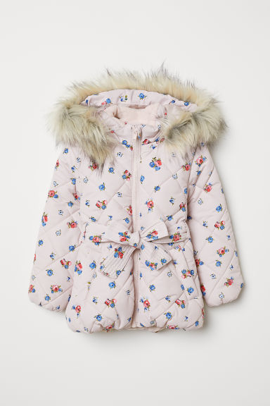 Quilted jacket - Light pink/Floral - Kids | H&M