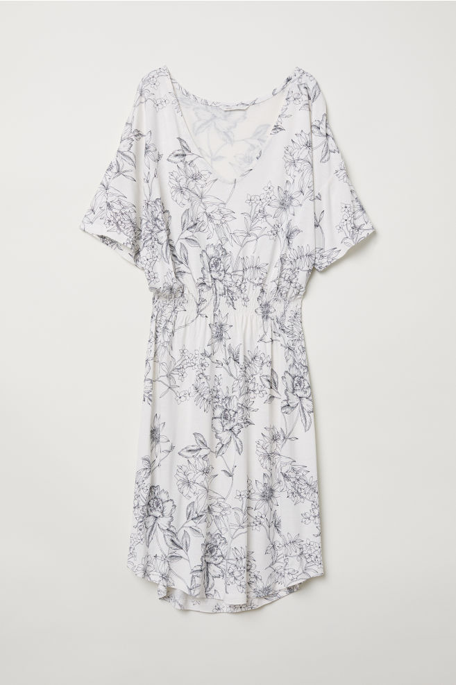 5f919c7a85c Jersey dress with smocking - White/Floral - Ladies | H&M ...