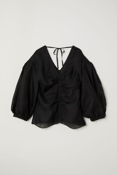 Lyocell and silk top - Black -  | H&M