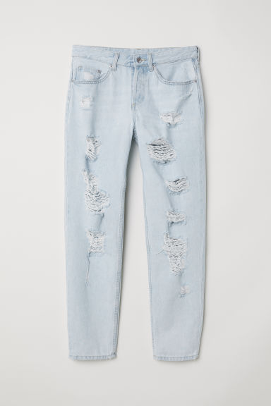 Boyfriend Low Ripped Jeans - Light denim blue/Trashed -  | H&M