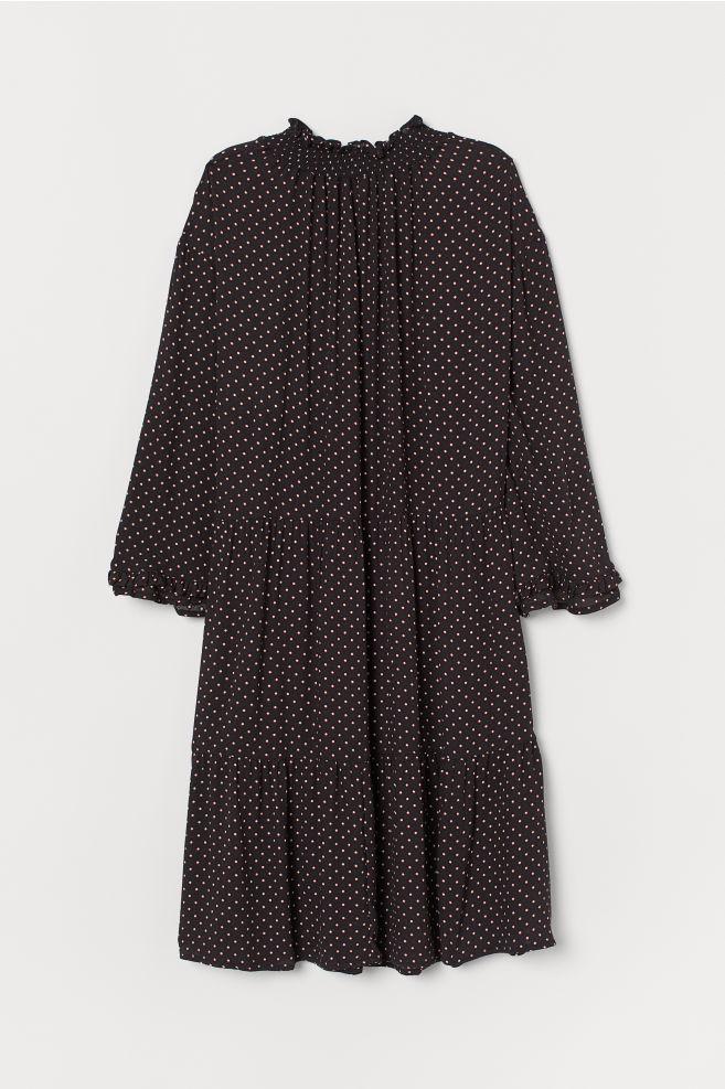 45511d9f ... Vid kjole - Sort/Prikket - DAME | H&M ...