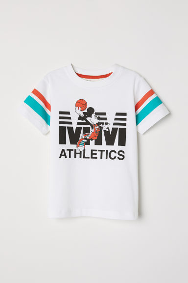 T-shirt met print - Wit/Mickey Mouse - KINDEREN | H&M BE