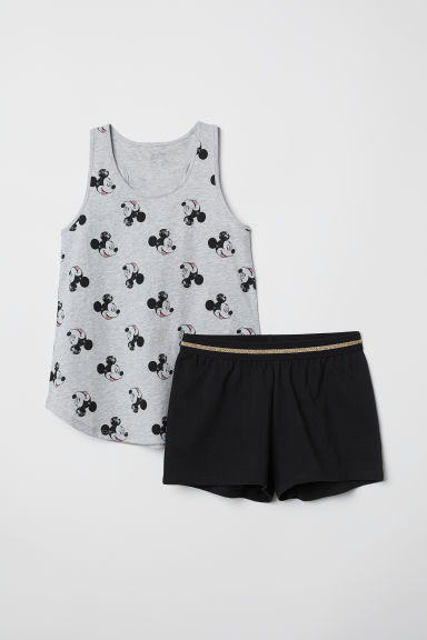 Jersey pyjamas - Light grey marl/Mickey Mouse -  | H&M