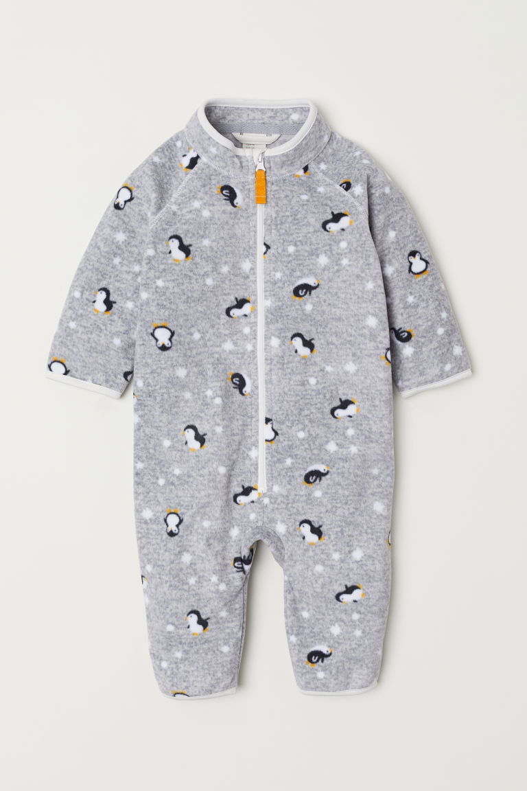 Fleece all-in-one suit - Grey/Penguins - Kids | H&M CN