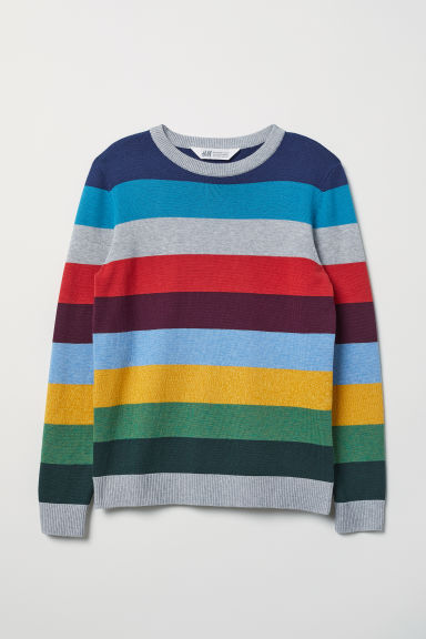 Fine-knit jumper - Light grey/Striped - Kids | H&M CN