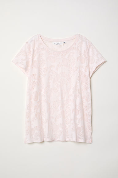 Burnout-patterned T shirt - Light pink - Ladies | H&M CN