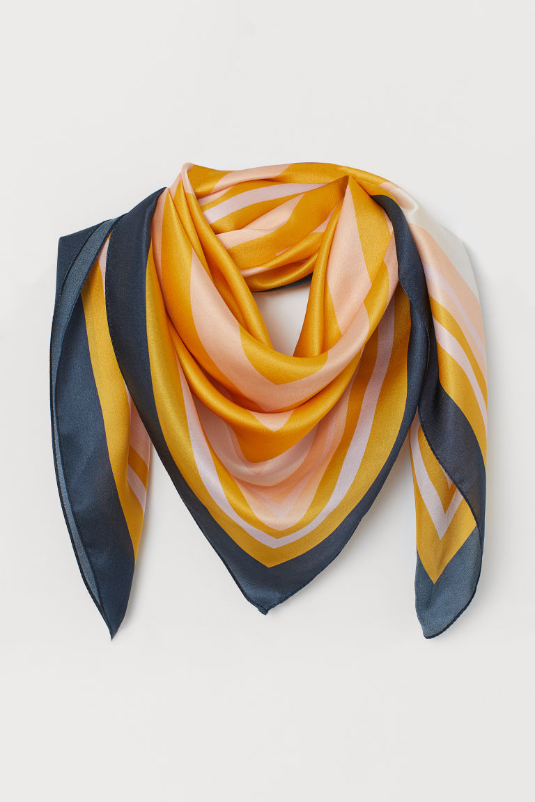 Patterned Silk Scarf - Yellow/color-block - Ladies | H&M CA