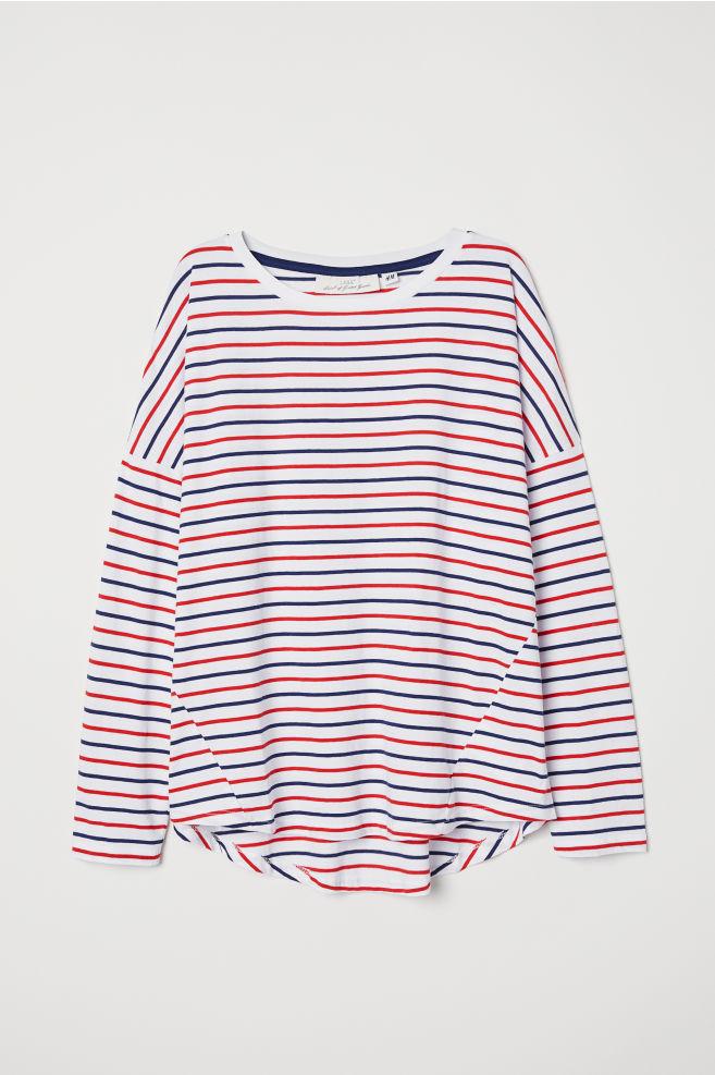 846d94ea2479 Striped Jersey Top - White dark blue striped - Ladies