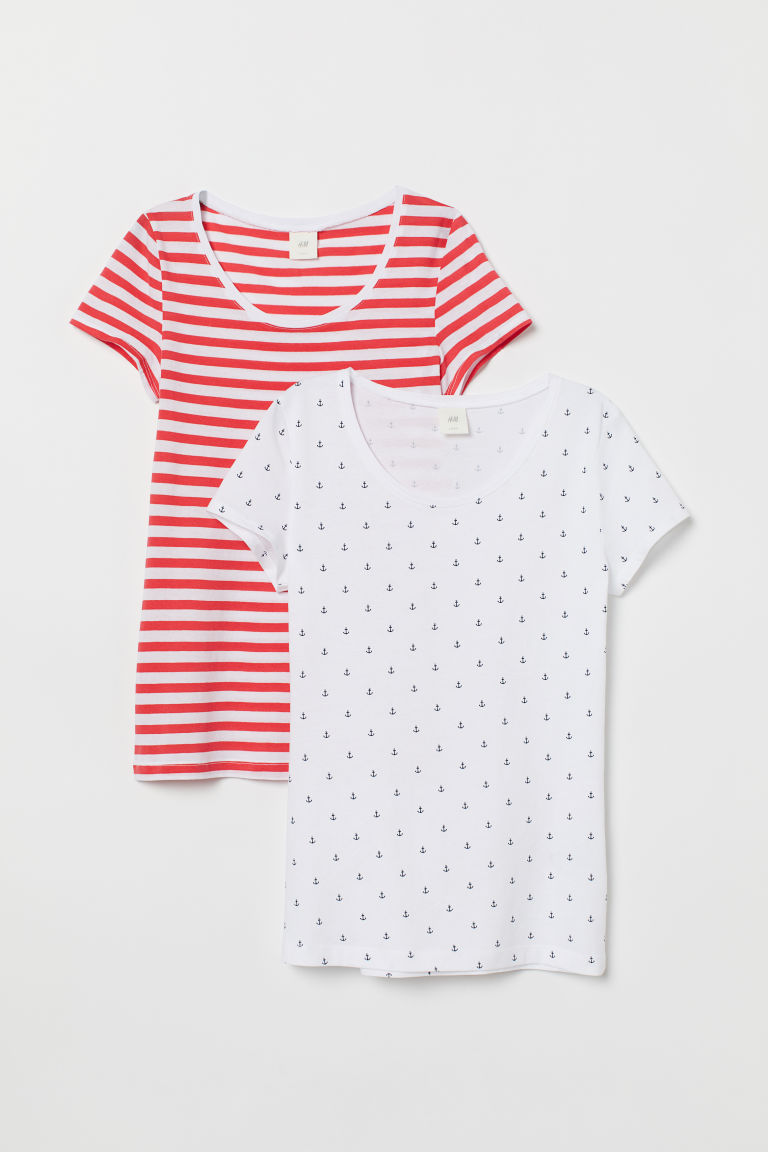 2-pack short-sleeved tops - Red/White striped - Ladies | H&M
