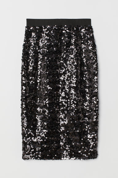Skirt with Sequins - Black -  | H&M US