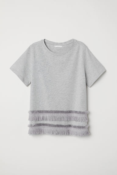 Jersey top with fringes - Light grey - Ladies | H&M