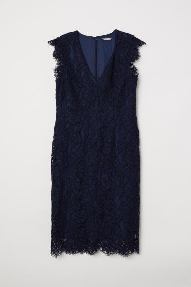 H&M+ Lace dress - Dark blue - Ladies | H&M