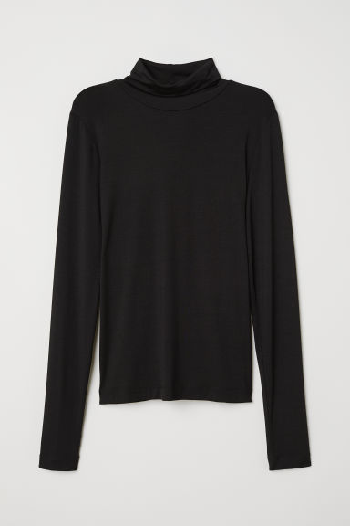 Jersey polo-neck top - Black - Ladies | H&M CN