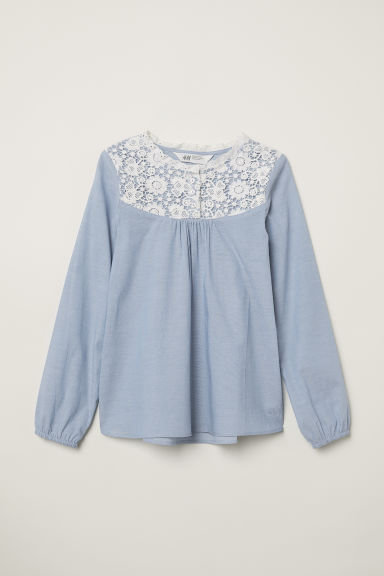 Blouse with lace - Light blue - Kids | H&M