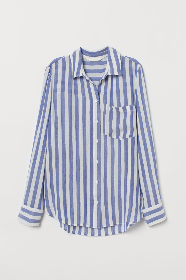 Crinkled shirt - Blue/White striped - Ladies | H&M CN