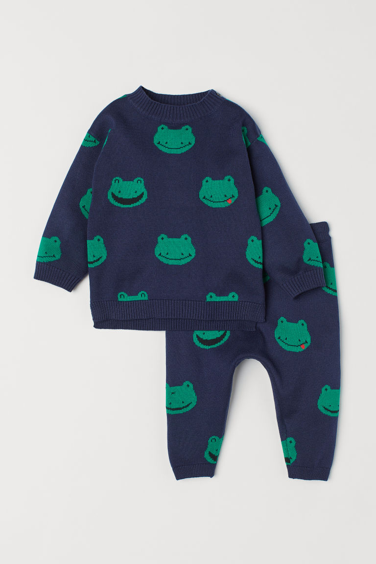 Cotton jumper and trousers - Dark blue/Frogs -  | H&M