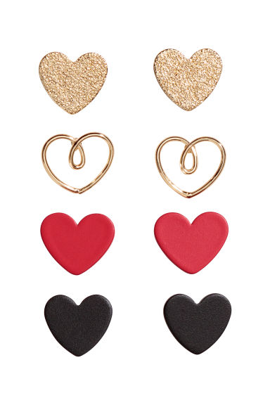 4 pairs stud earrings - Red/Hearts - Ladies | H&M IE