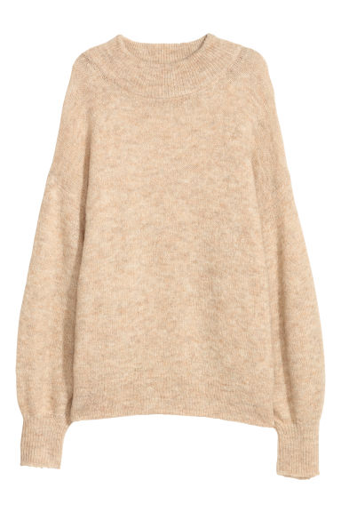 Wool-blend jumper - Beige/Gold-coloured -  | H&M CN
