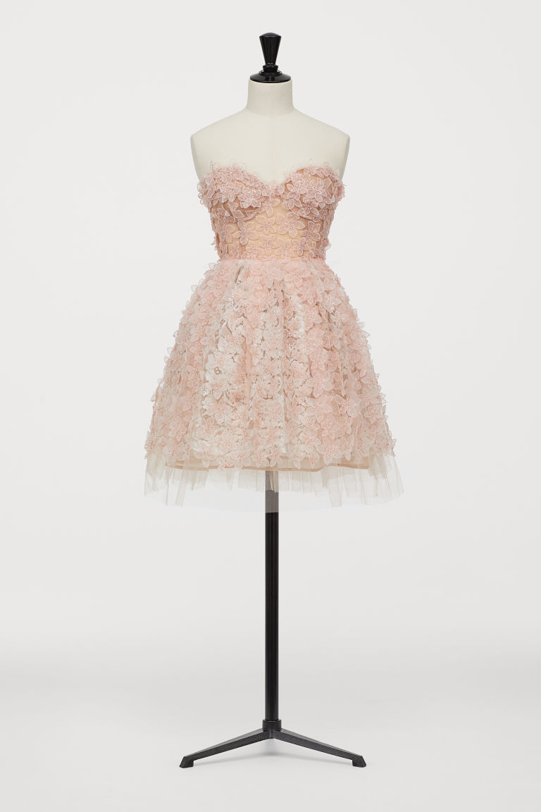Short tulle dress with lace - Light pink - Ladies | H&M