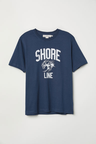 Printed T-shirt - Dark blue/Shore Line - Men | H&M